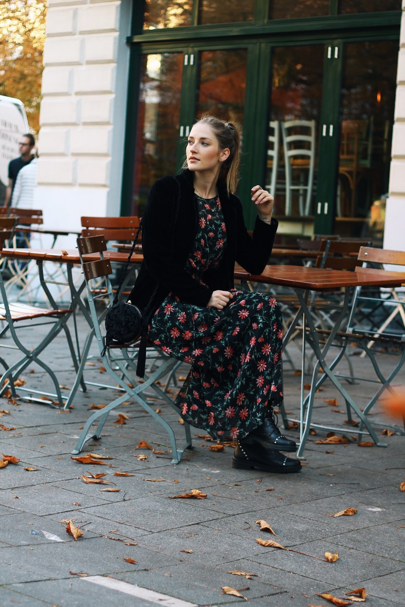 Floral Print Maxidress, Black Velvet Blazer and Studded Boots